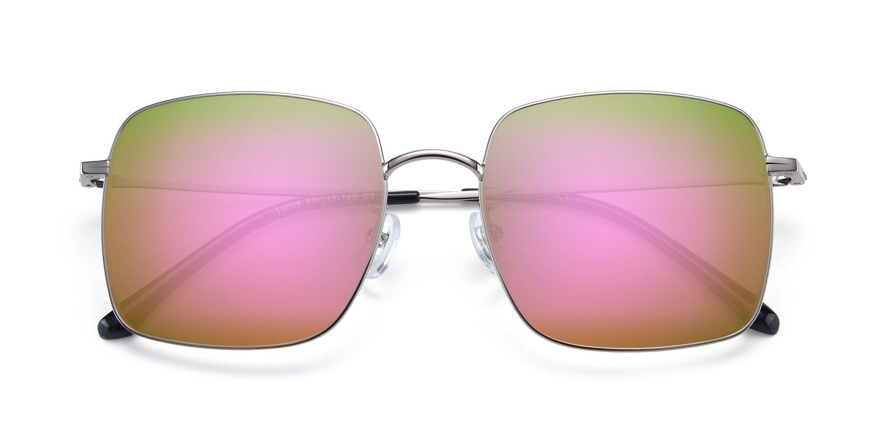 Folded Front of 18008 in Silver with Pink Mirrored Lenses