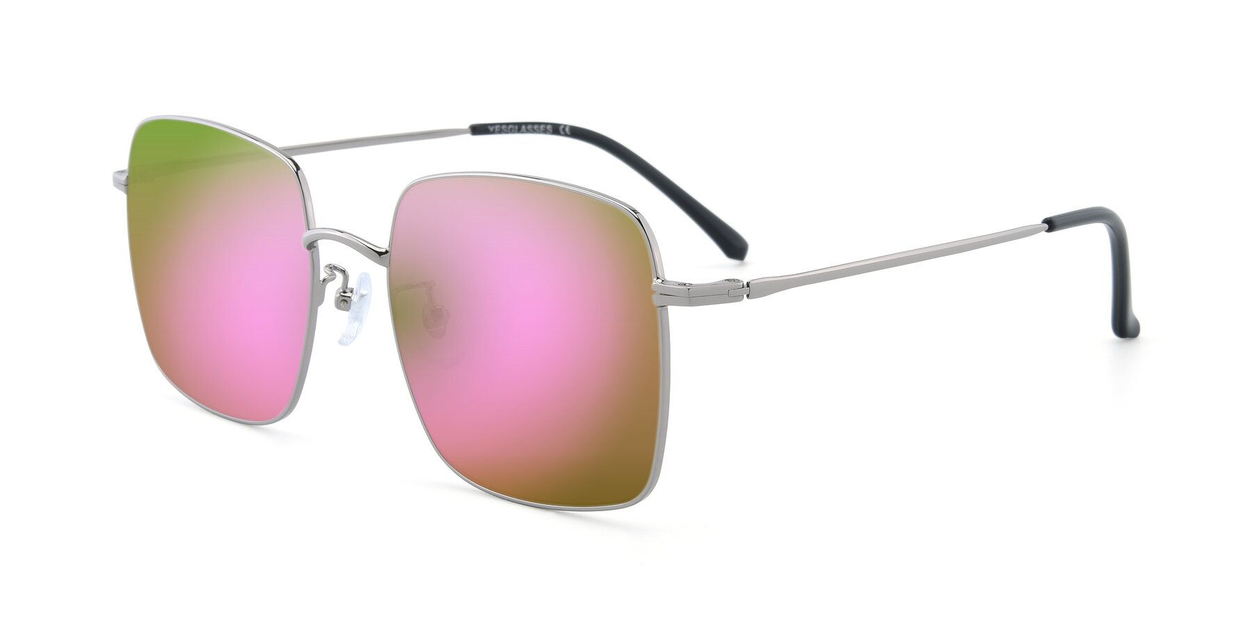 Angle of 18008 in Silver with Pink Mirrored Lenses