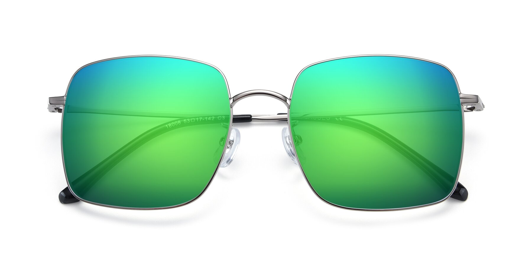 Folded Front of 18008 in Silver with Green Mirrored Lenses