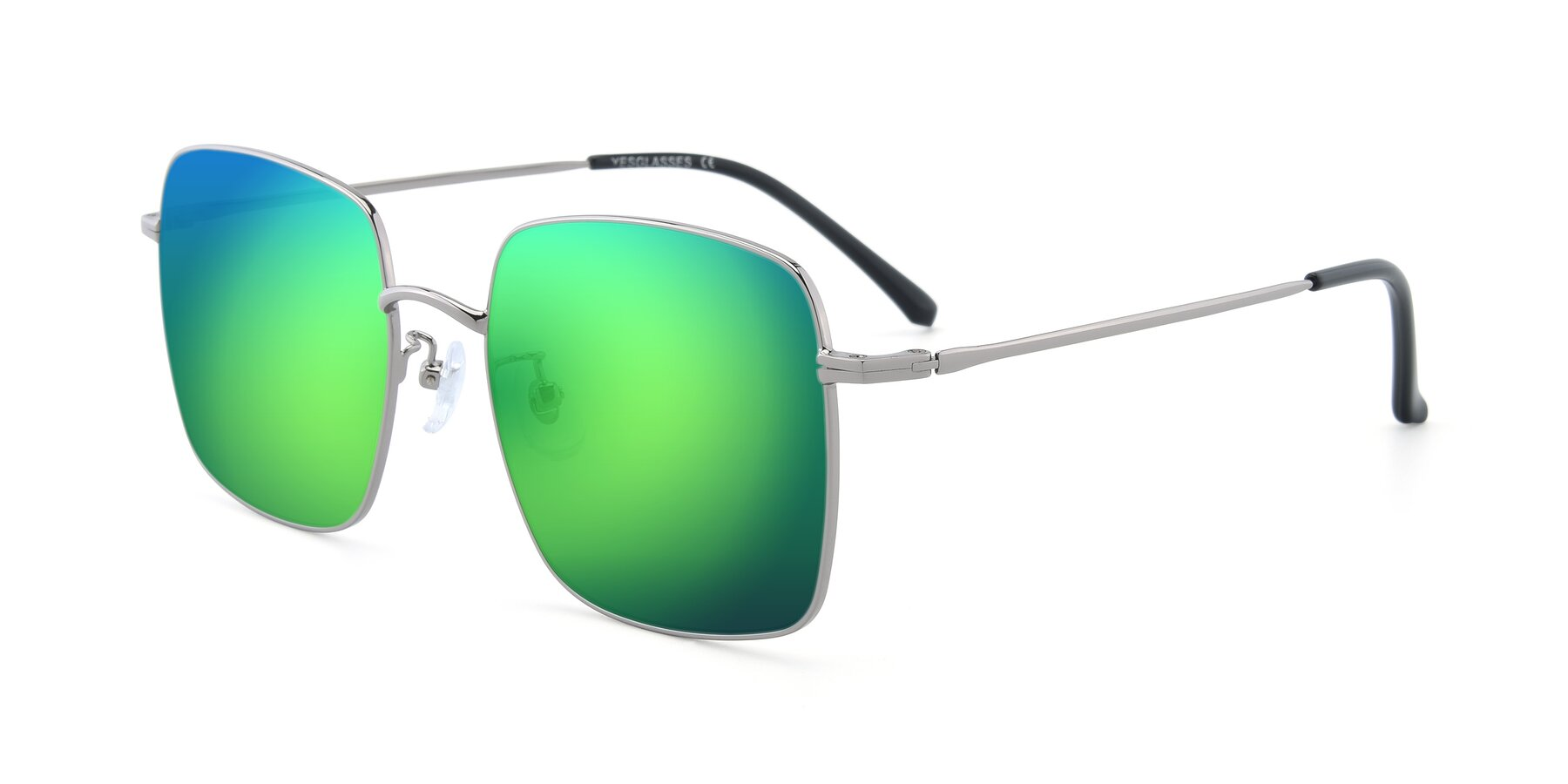 Angle of 18008 in Silver with Green Mirrored Lenses