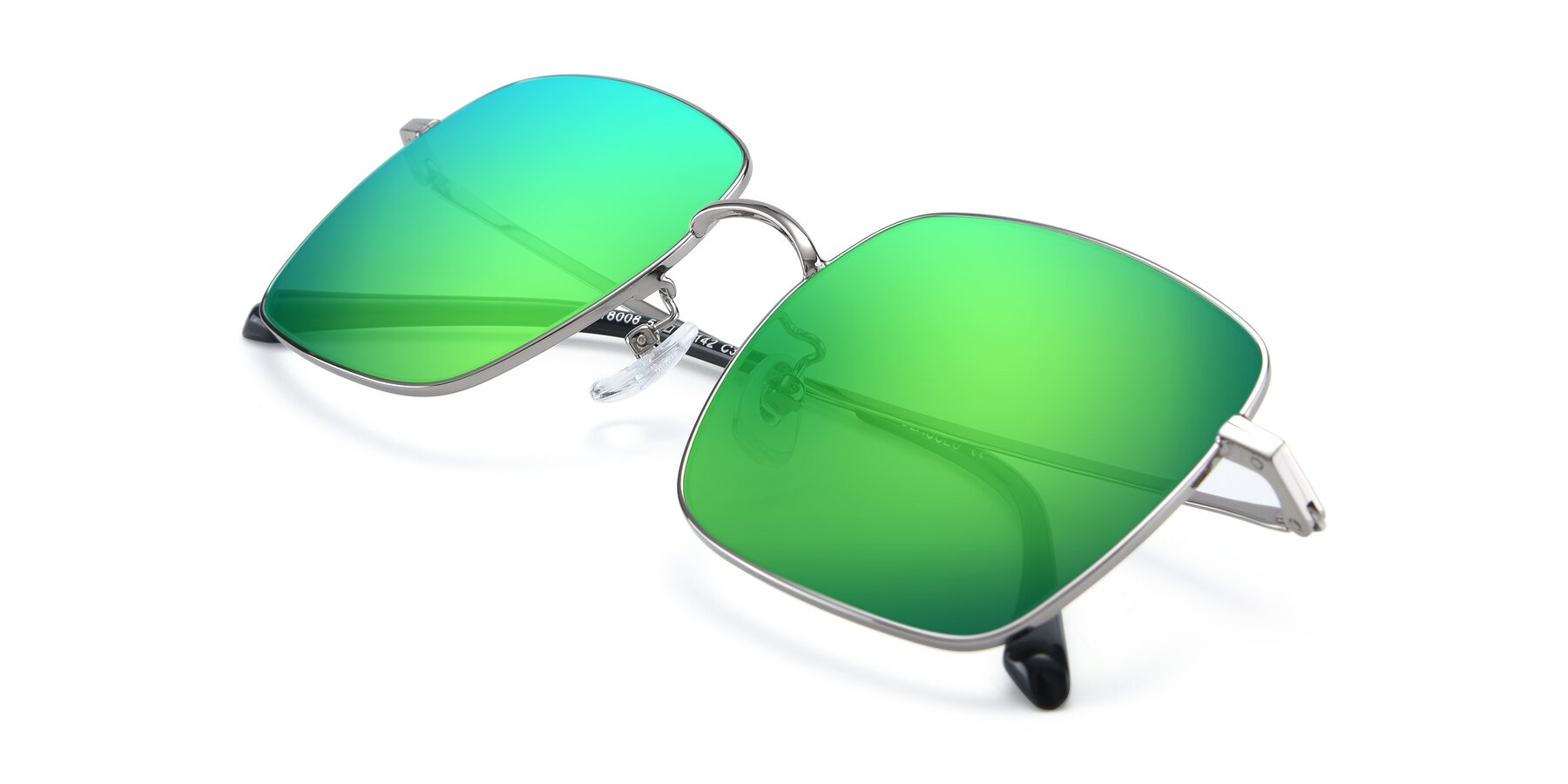 View of 18008 in Silver with Green Mirrored Lenses