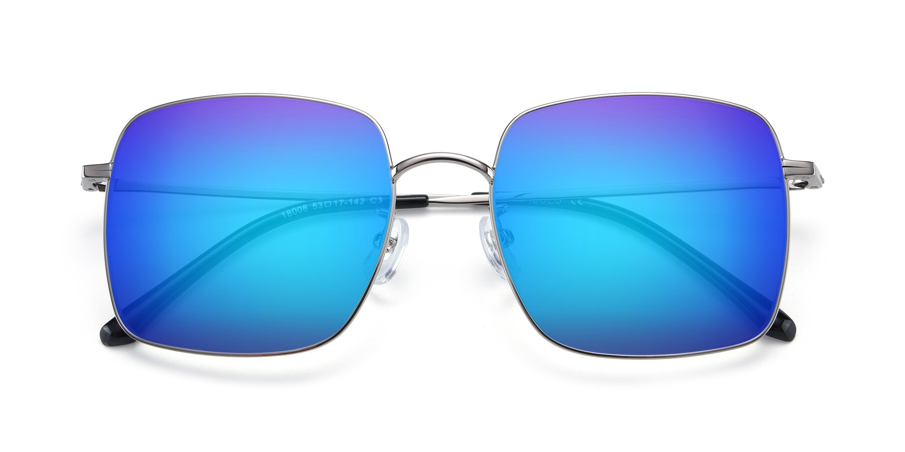 Folded Front of Billie in Silver with Blue Mirrored Lenses