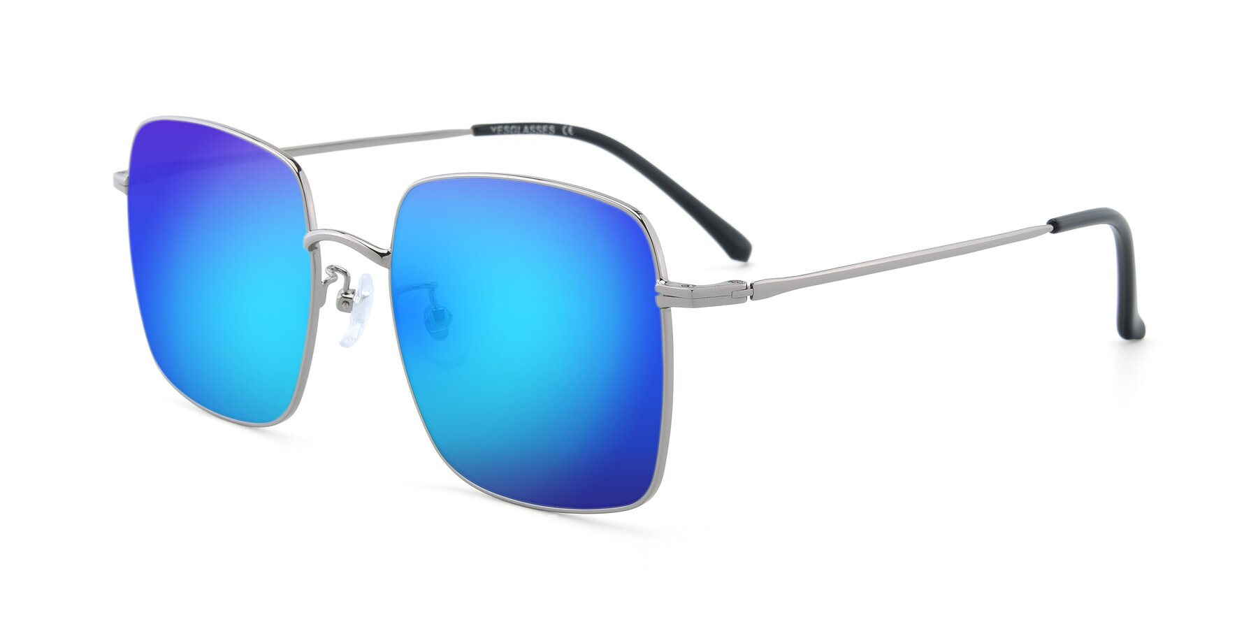 Angle of Billie in Silver with Blue Mirrored Lenses