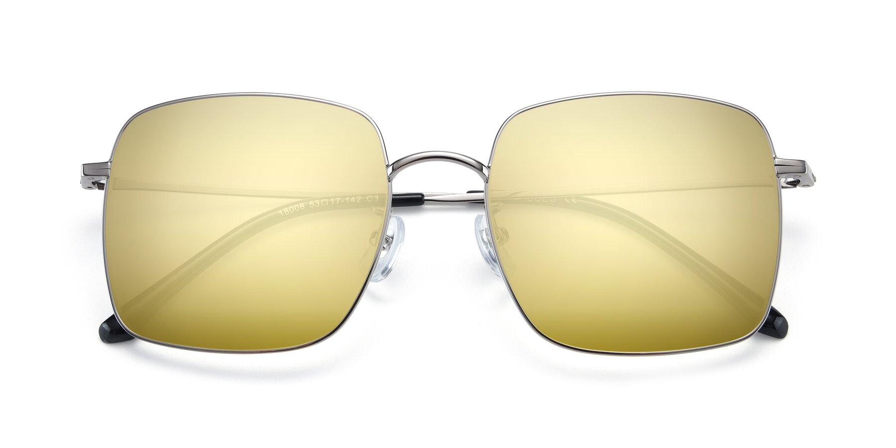 Folded Front of 18008 in Silver with Gold Mirrored Lenses