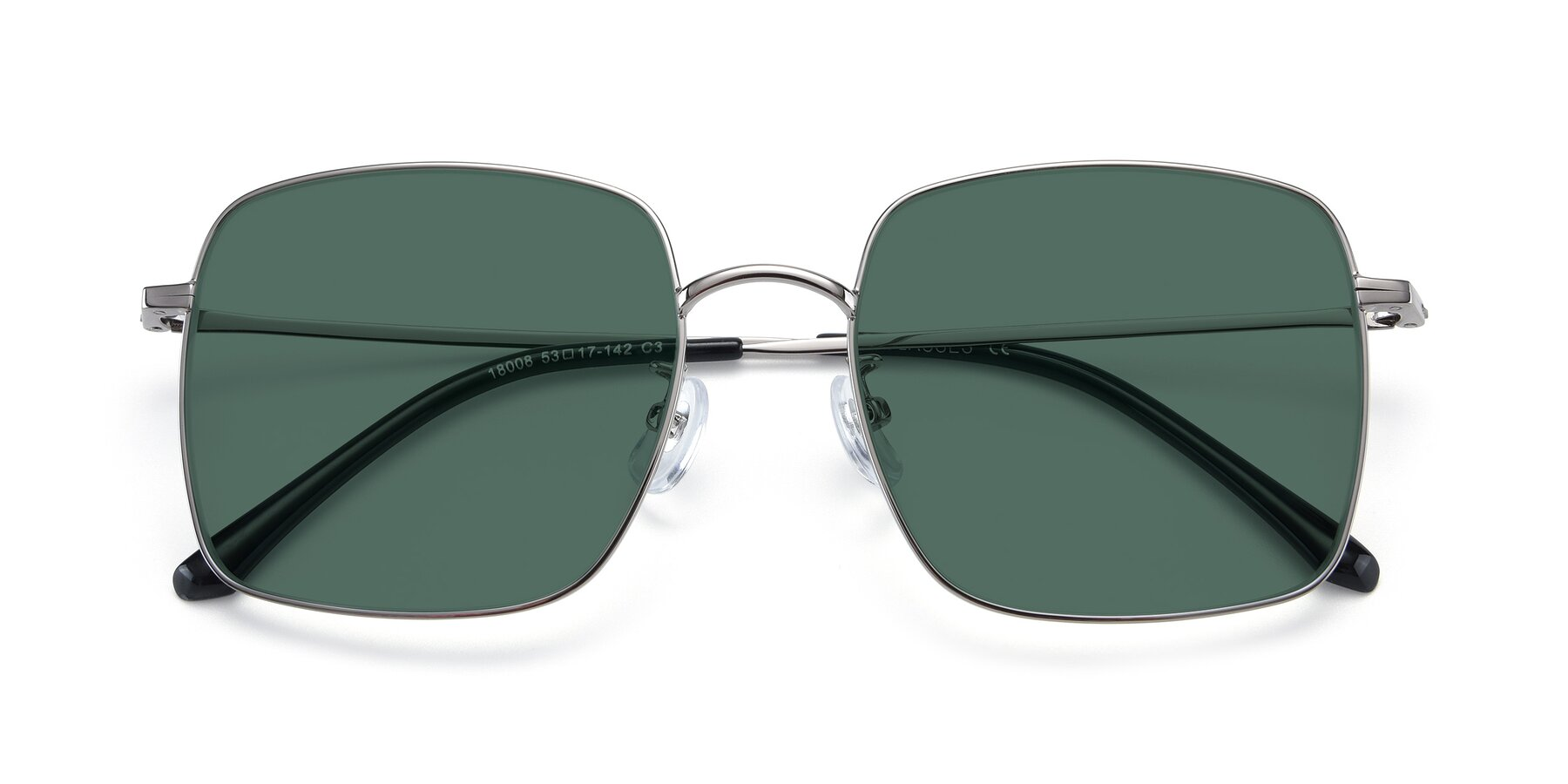Folded Front of 18008 in Silver with Green Polarized Lenses