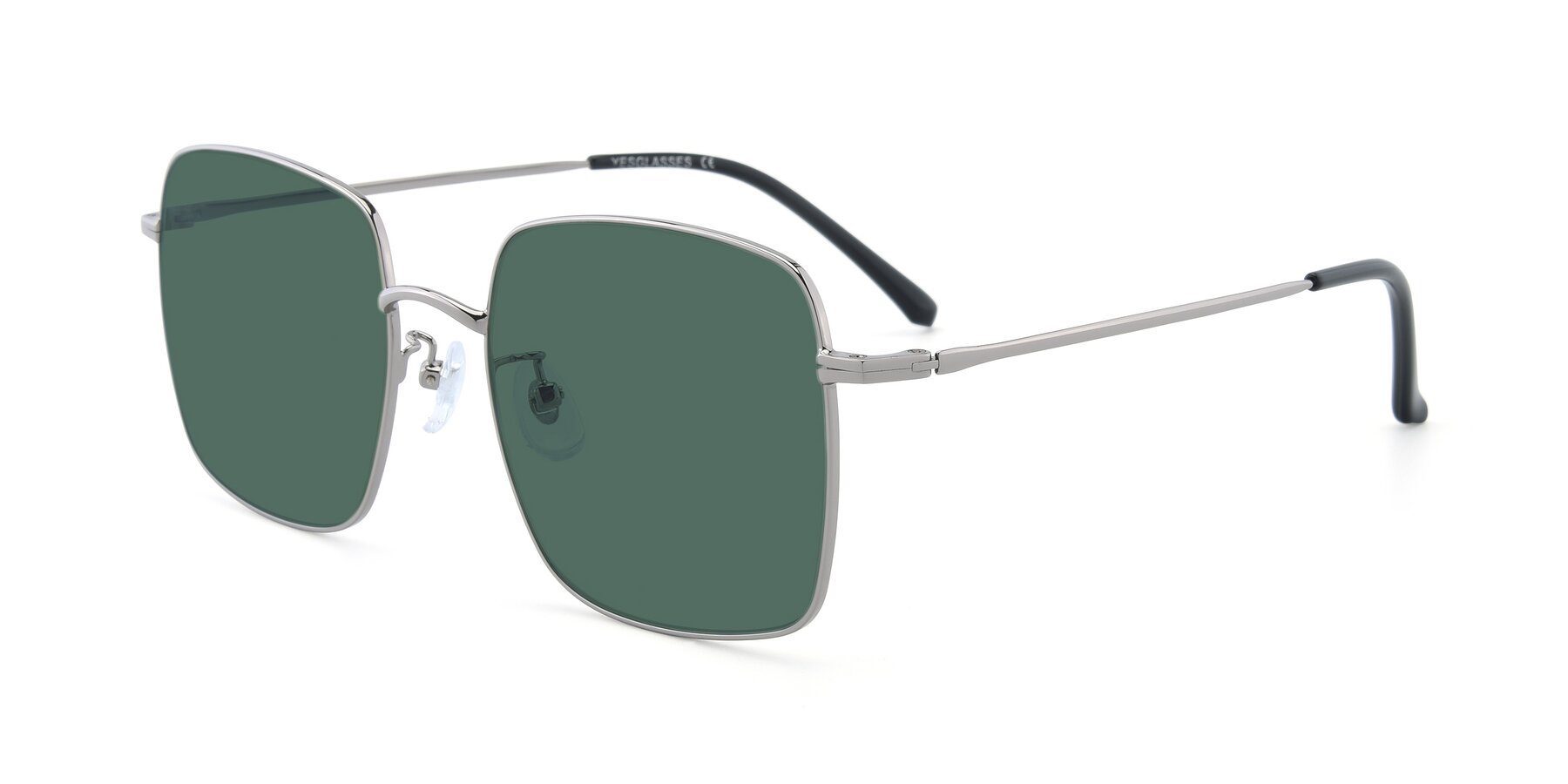 Angle of 18008 in Silver with Green Polarized Lenses