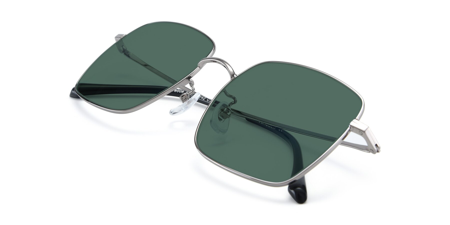 View of 18008 in Silver with Green Polarized Lenses