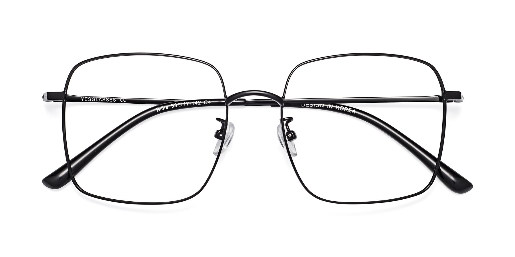 Folded Front of Billie in Black with Clear Blue Light Blocking Lenses