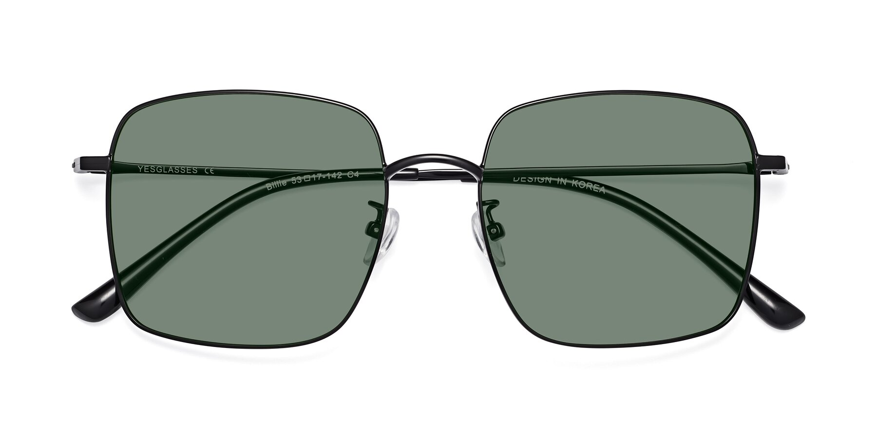 Folded Front of Billie in Black with Medium Green Tinted Lenses