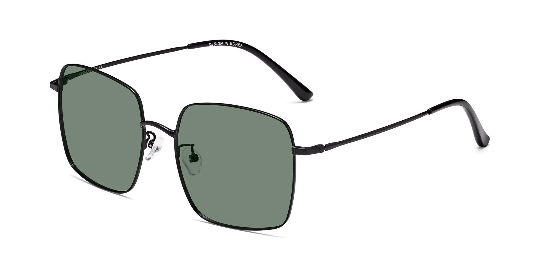 Angle of Billie in Black with Medium Green Tinted Lenses