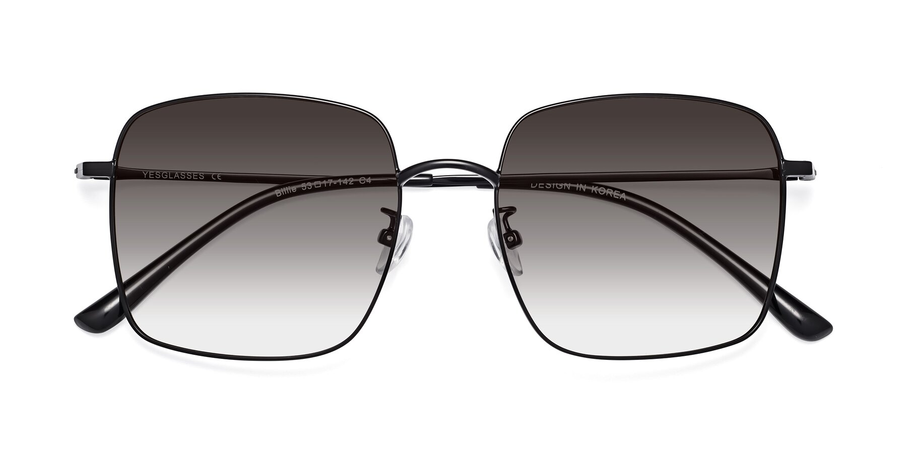 Folded Front of 18008 in Black with Gray Gradient Lenses