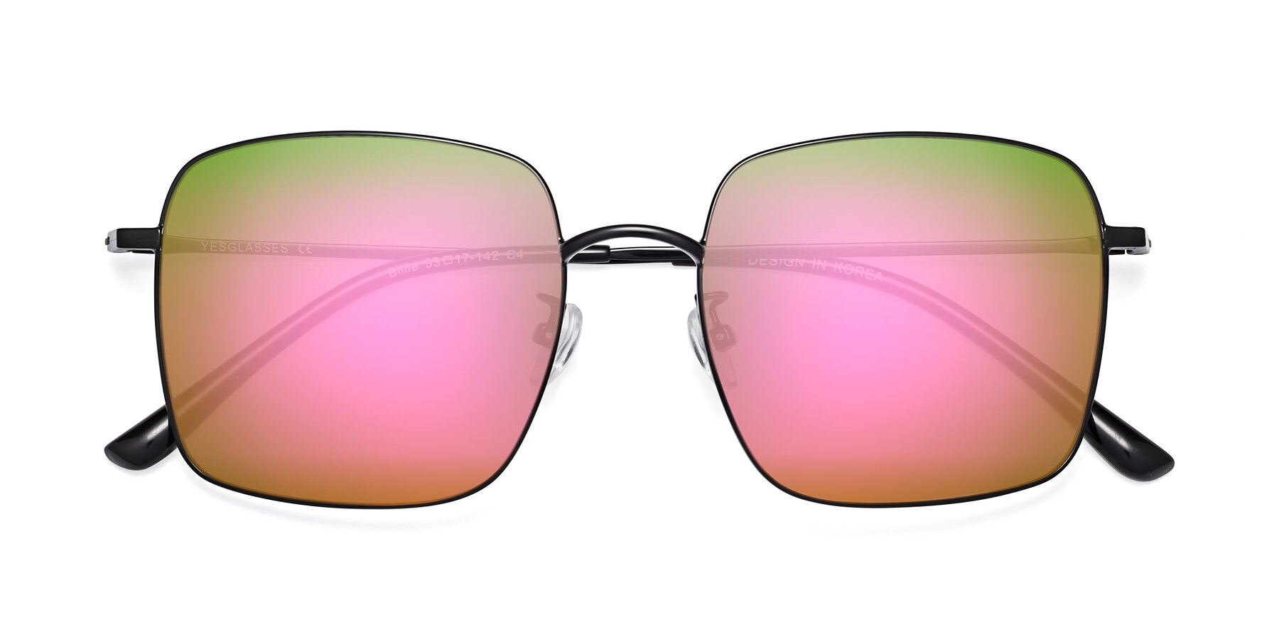 Folded Front of 18008 in Black with Pink Mirrored Lenses
