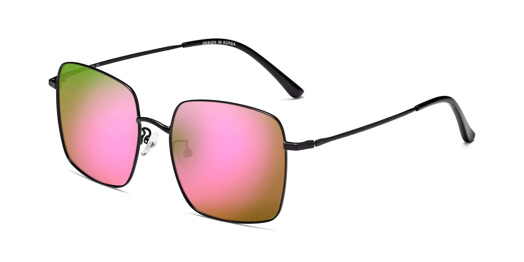 Angle of 18008 in Black with Pink Mirrored Lenses