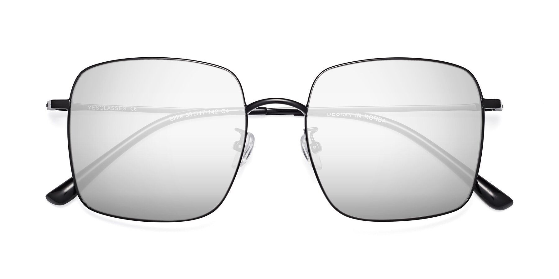 Folded Front of 18008 in Black with Silver Mirrored Lenses