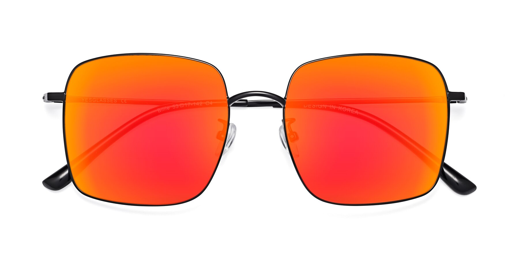 Folded Front of 18008 in Black with Red Gold Mirrored Lenses