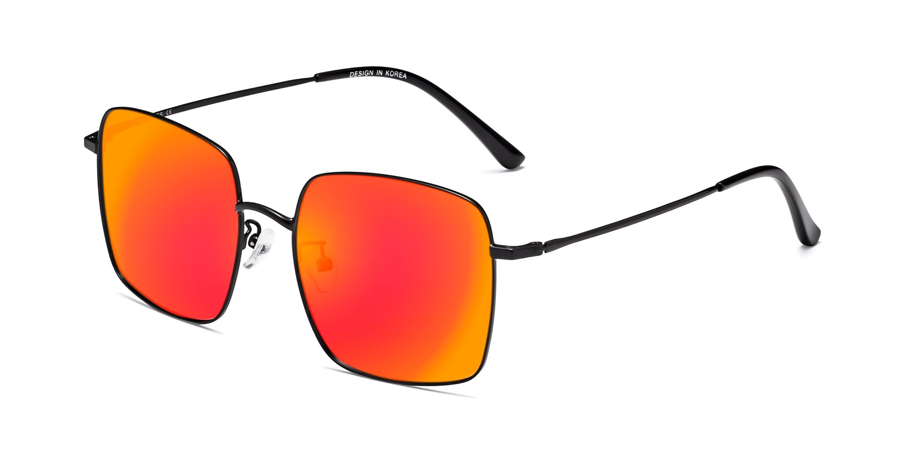 Angle of 18008 in Black with Red Gold Mirrored Lenses