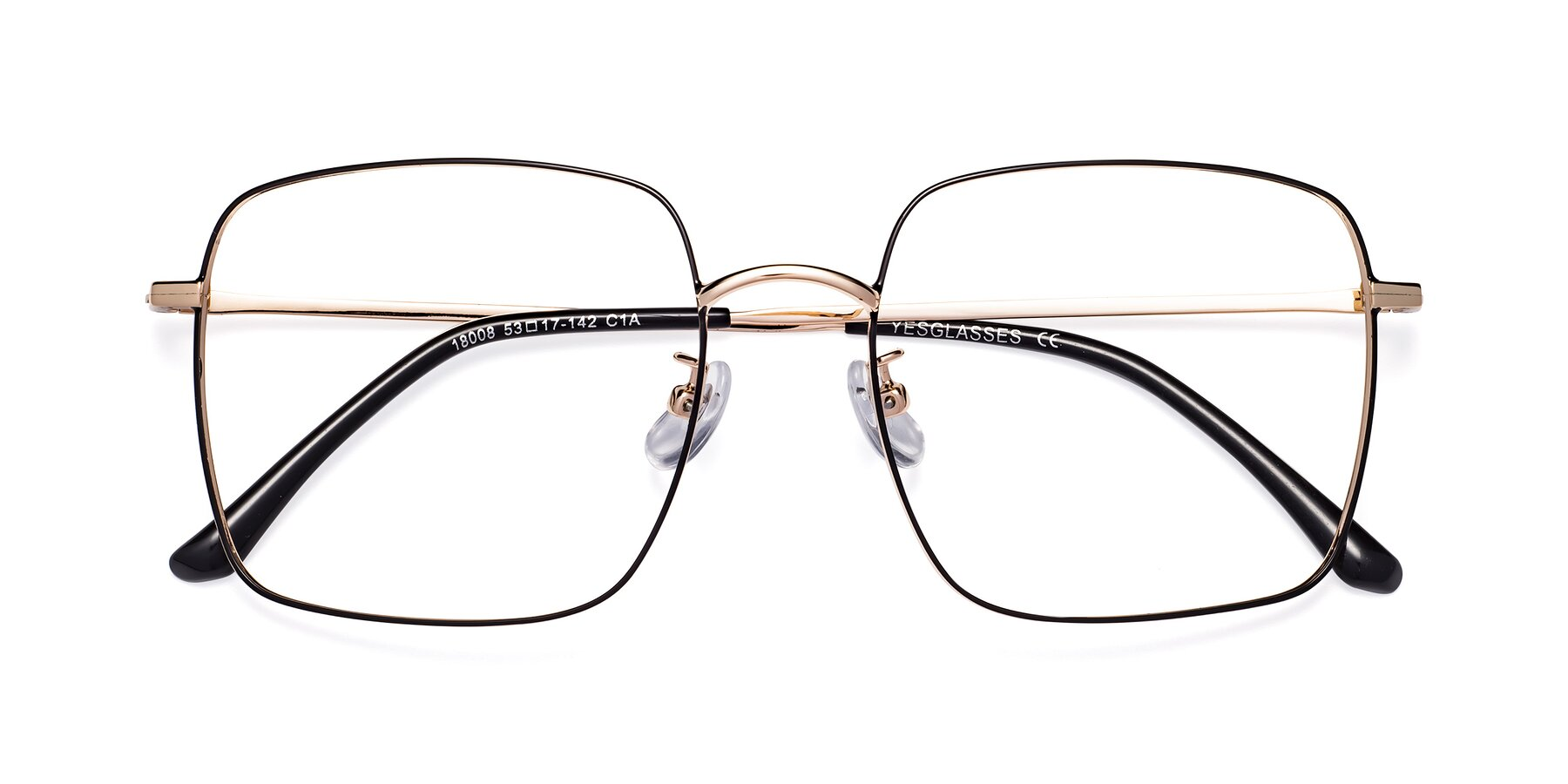 Folded Front of Billie in Black-Gold with Clear Eyeglass Lenses