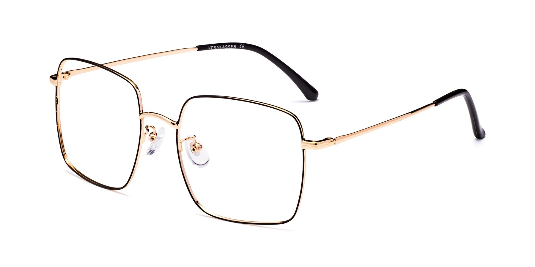 Angle of Billie in Black-Gold with Clear Eyeglass Lenses