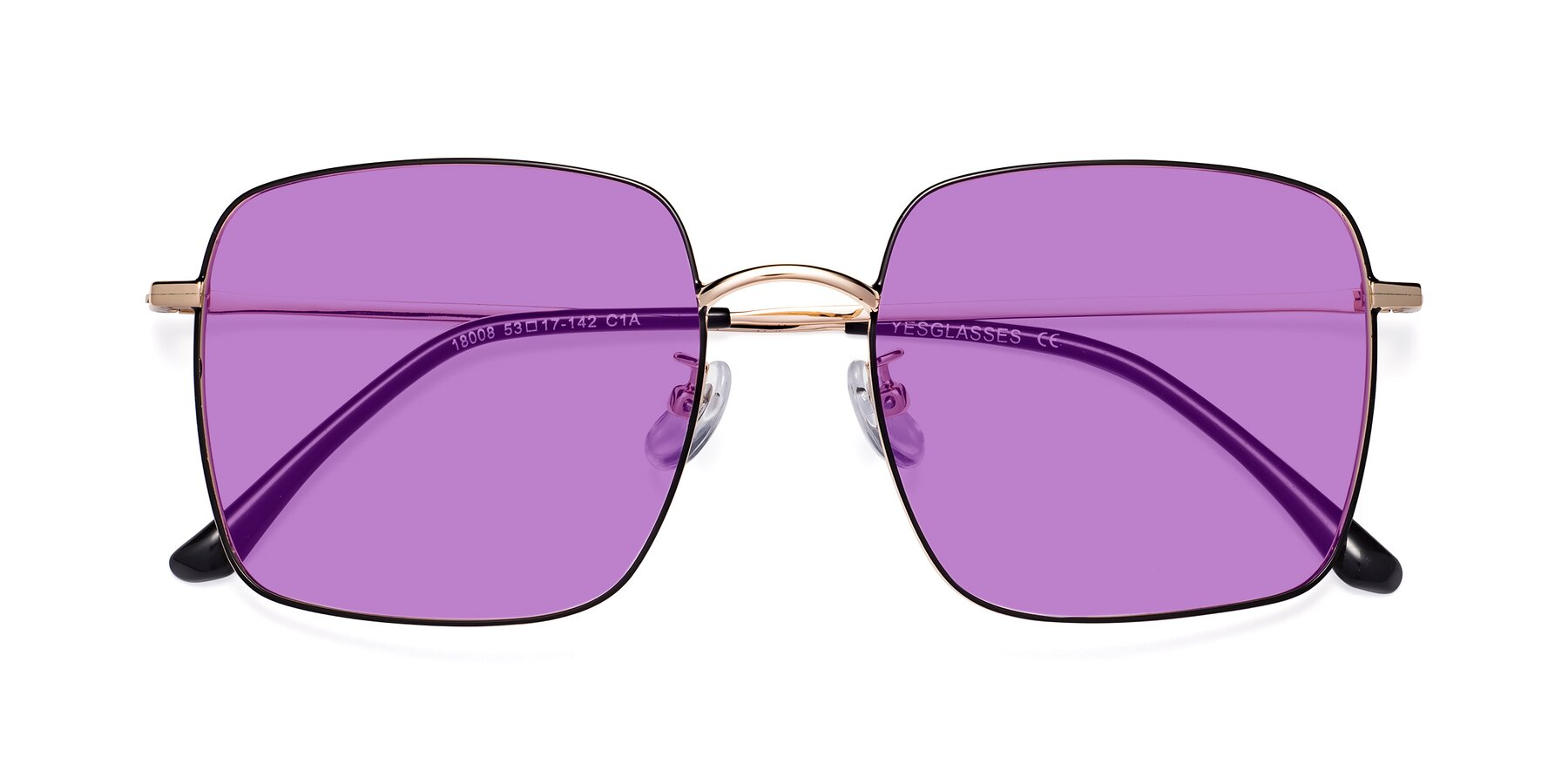 Folded Front of Billie in Black-Gold with Medium Purple Tinted Lenses