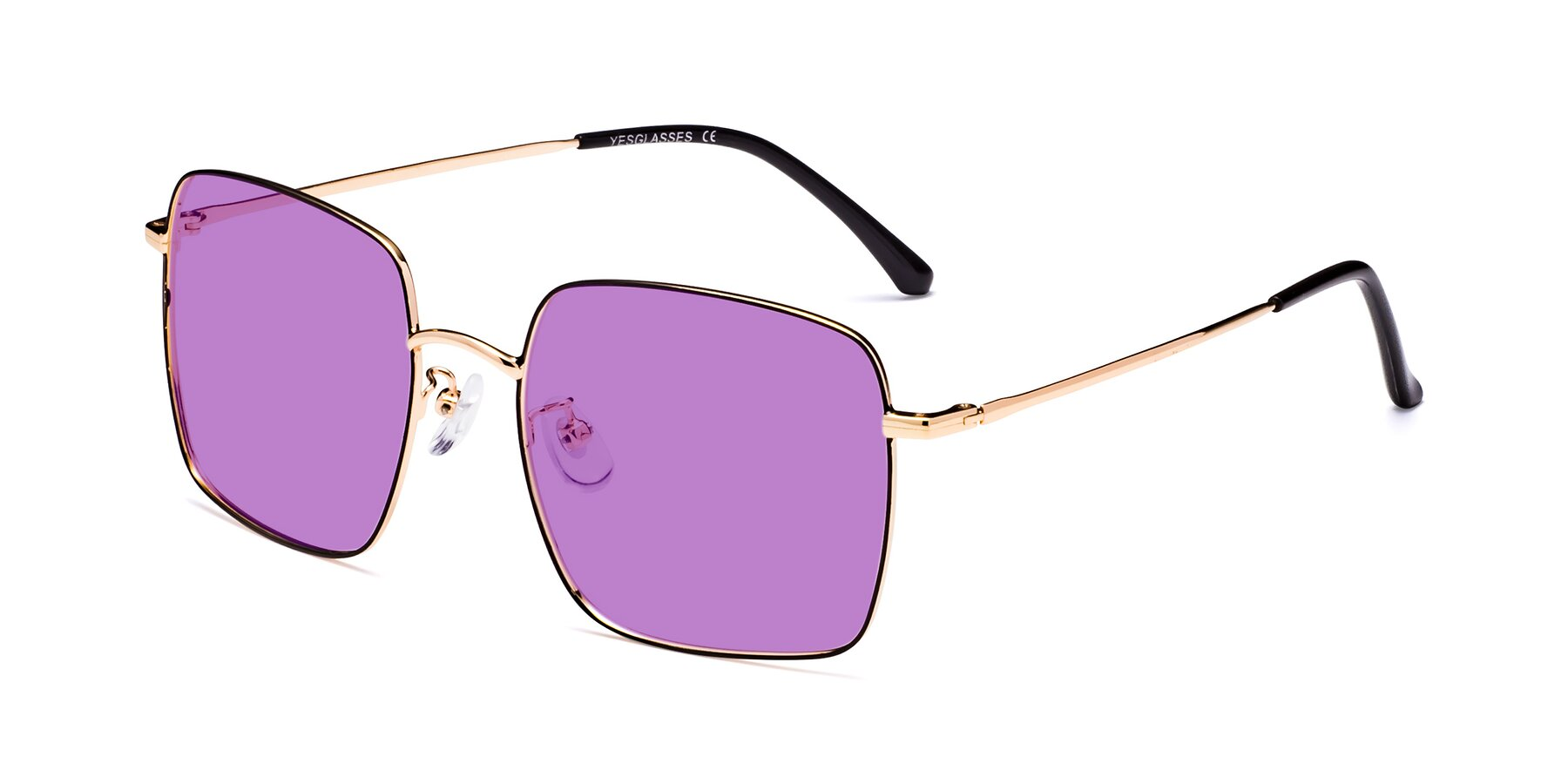 Angle of Billie in Black-Gold with Medium Purple Tinted Lenses