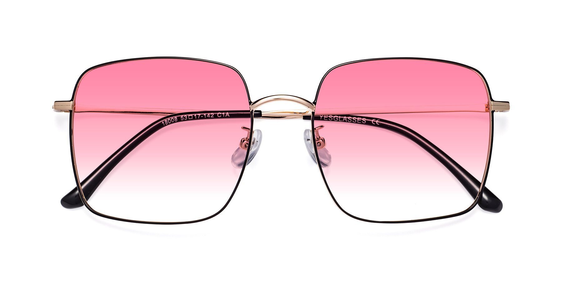 Folded Front of 18008 in Black-Gold with Pink Gradient Lenses