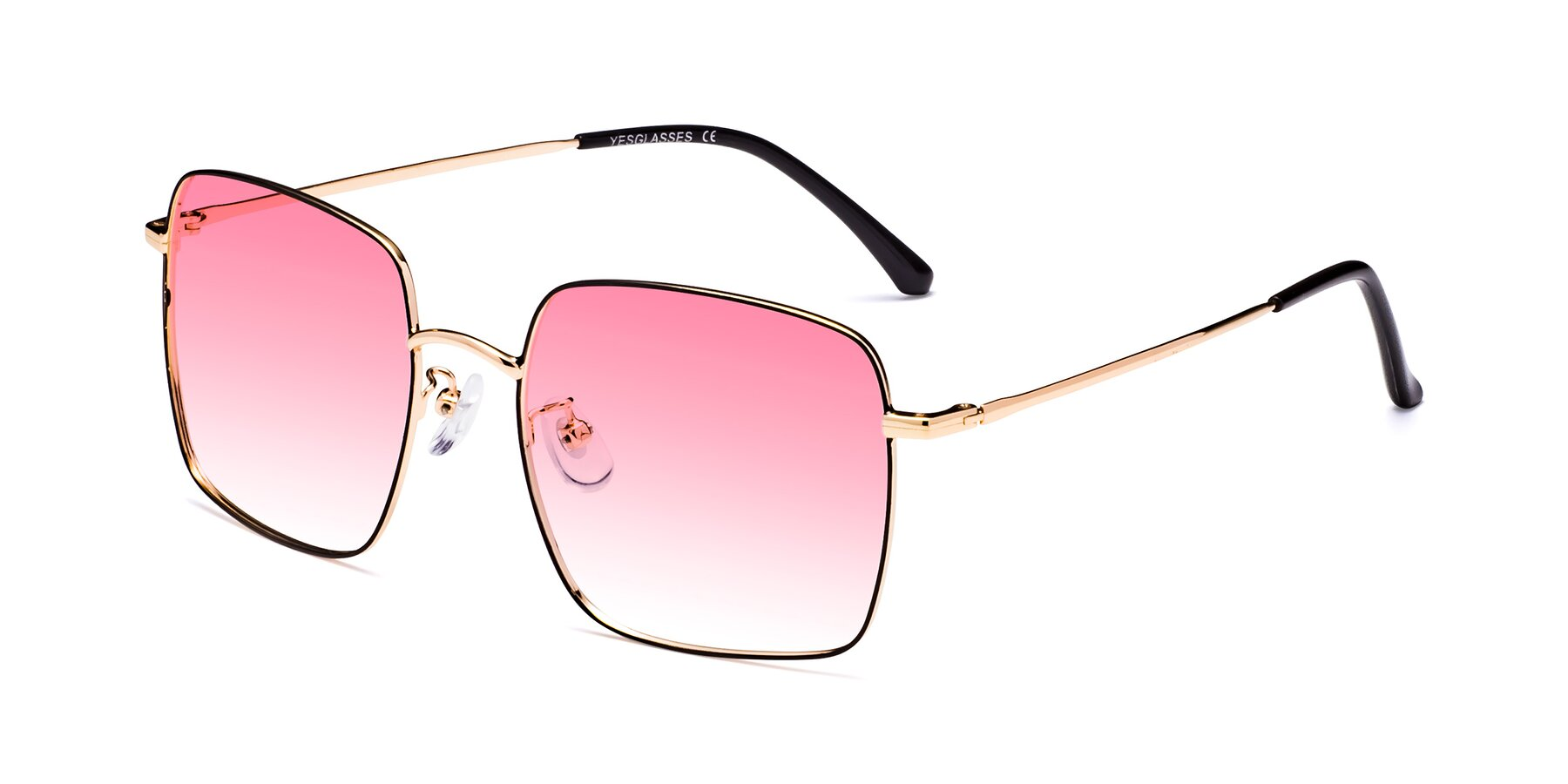 Angle of 18008 in Black-Gold with Pink Gradient Lenses