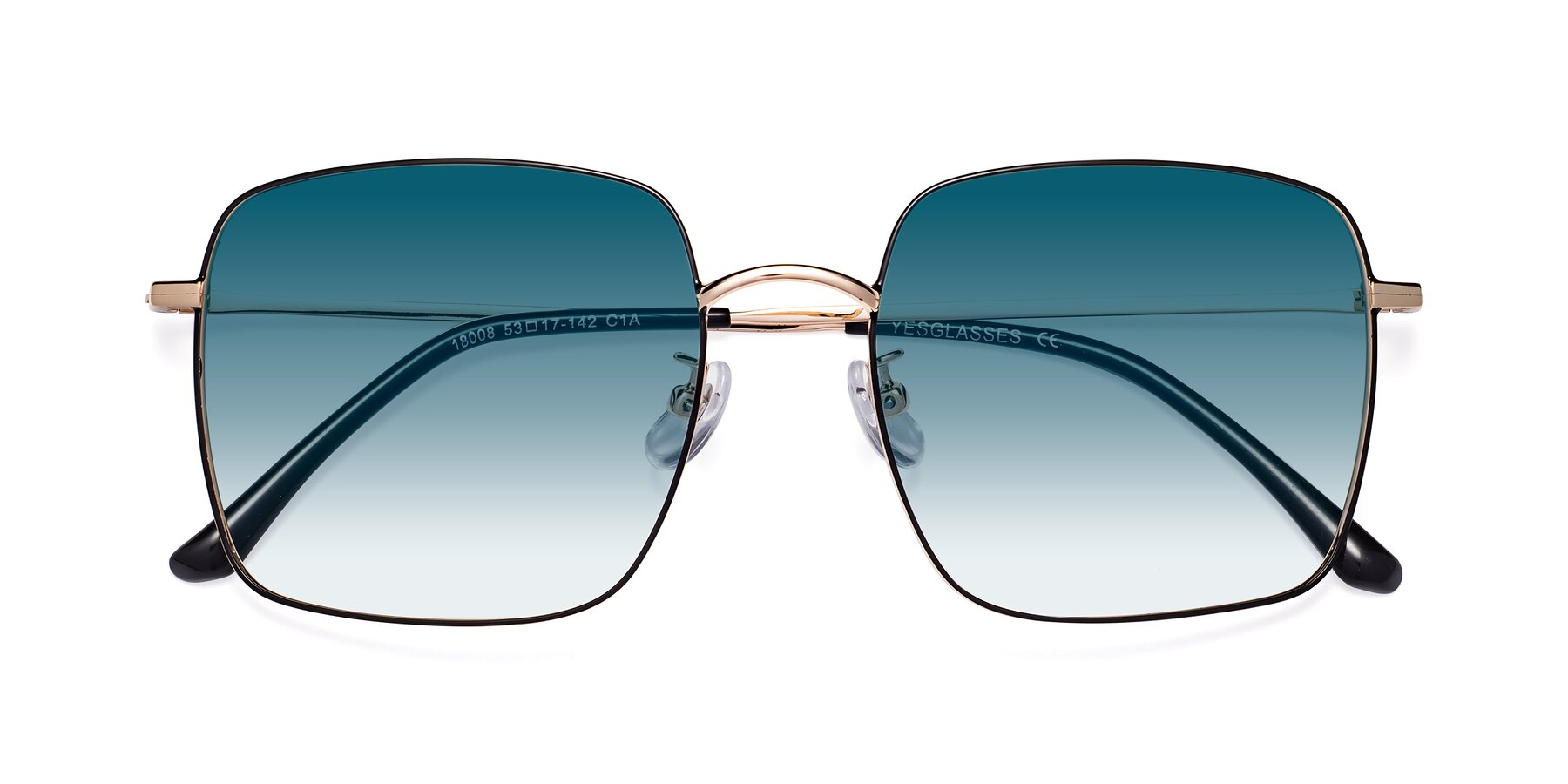 Folded Front of 18008 in Black-Gold with Blue Gradient Lenses