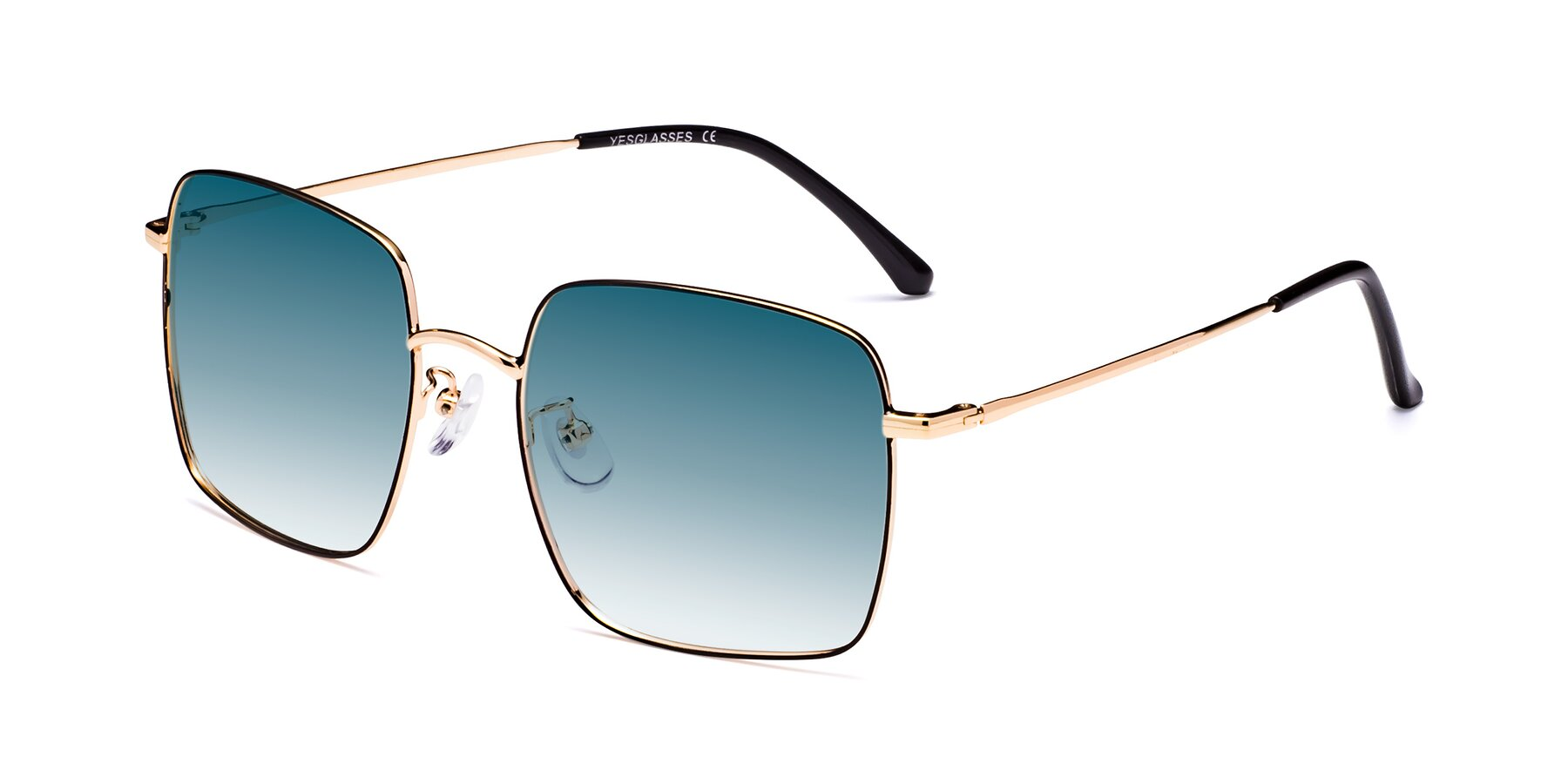 Angle of 18008 in Black-Gold with Blue Gradient Lenses