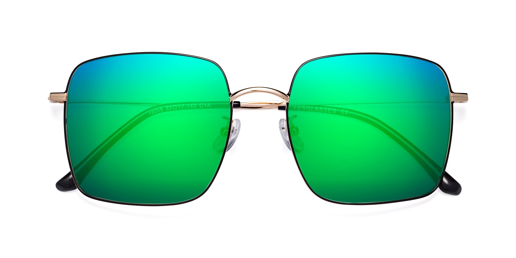 Folded Front of 18008 in Black-Gold with Green Mirrored Lenses