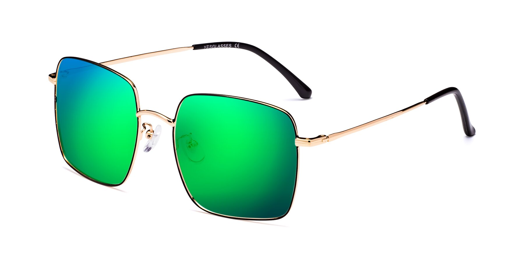 Angle of 18008 in Black-Gold with Green Mirrored Lenses