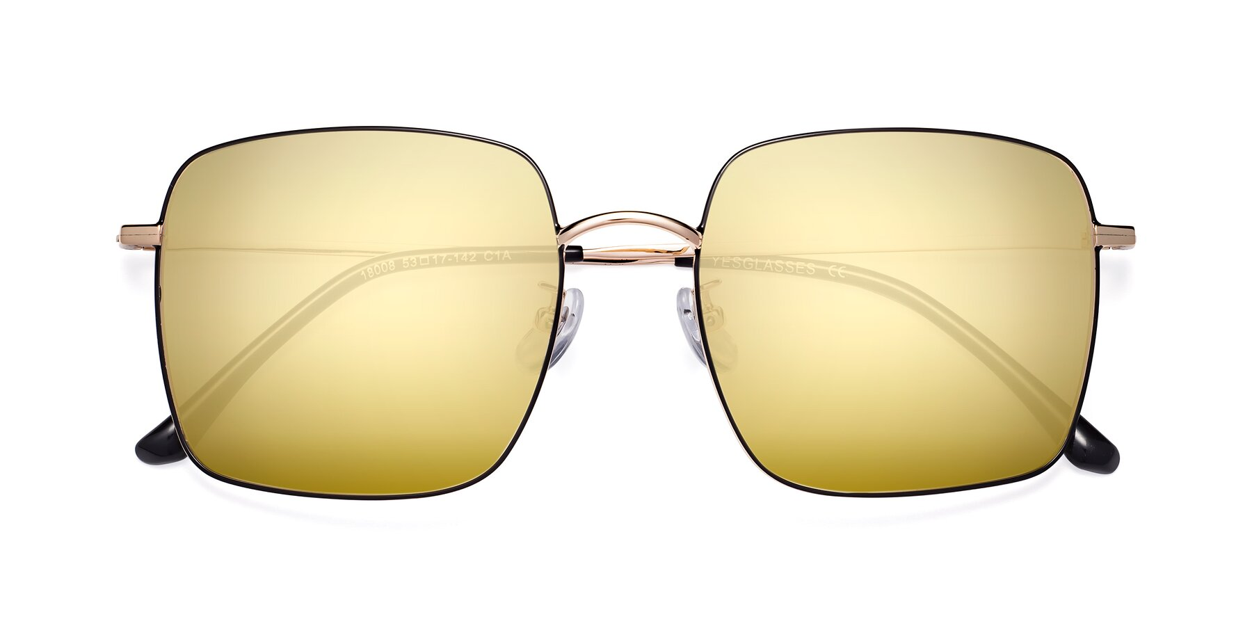 Folded Front of 18008 in Black-Gold with Gold Mirrored Lenses