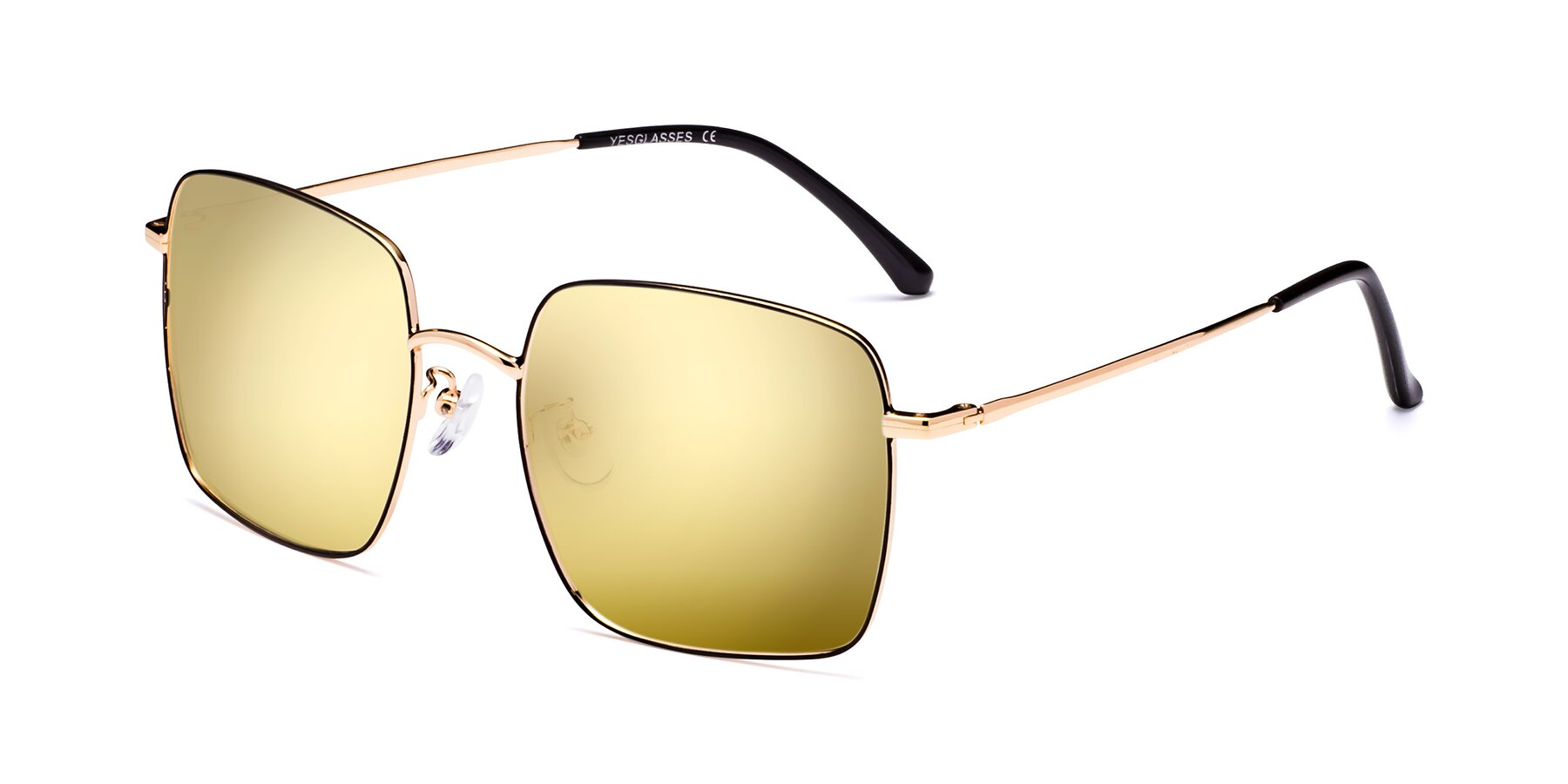 Angle of 18008 in Black-Gold with Gold Mirrored Lenses