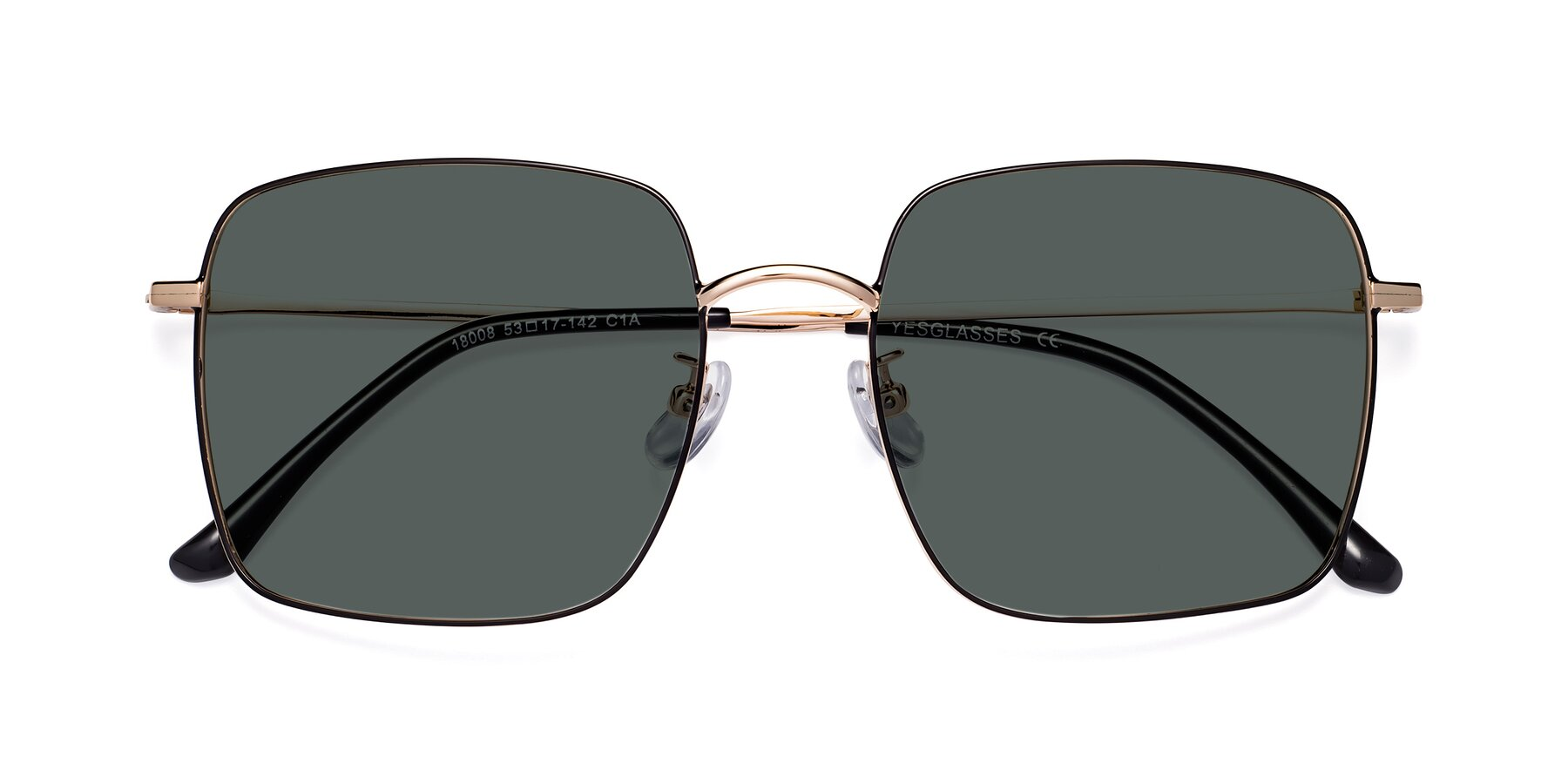 Folded Front of 18008 in Black-Gold with Gray Polarized Lenses