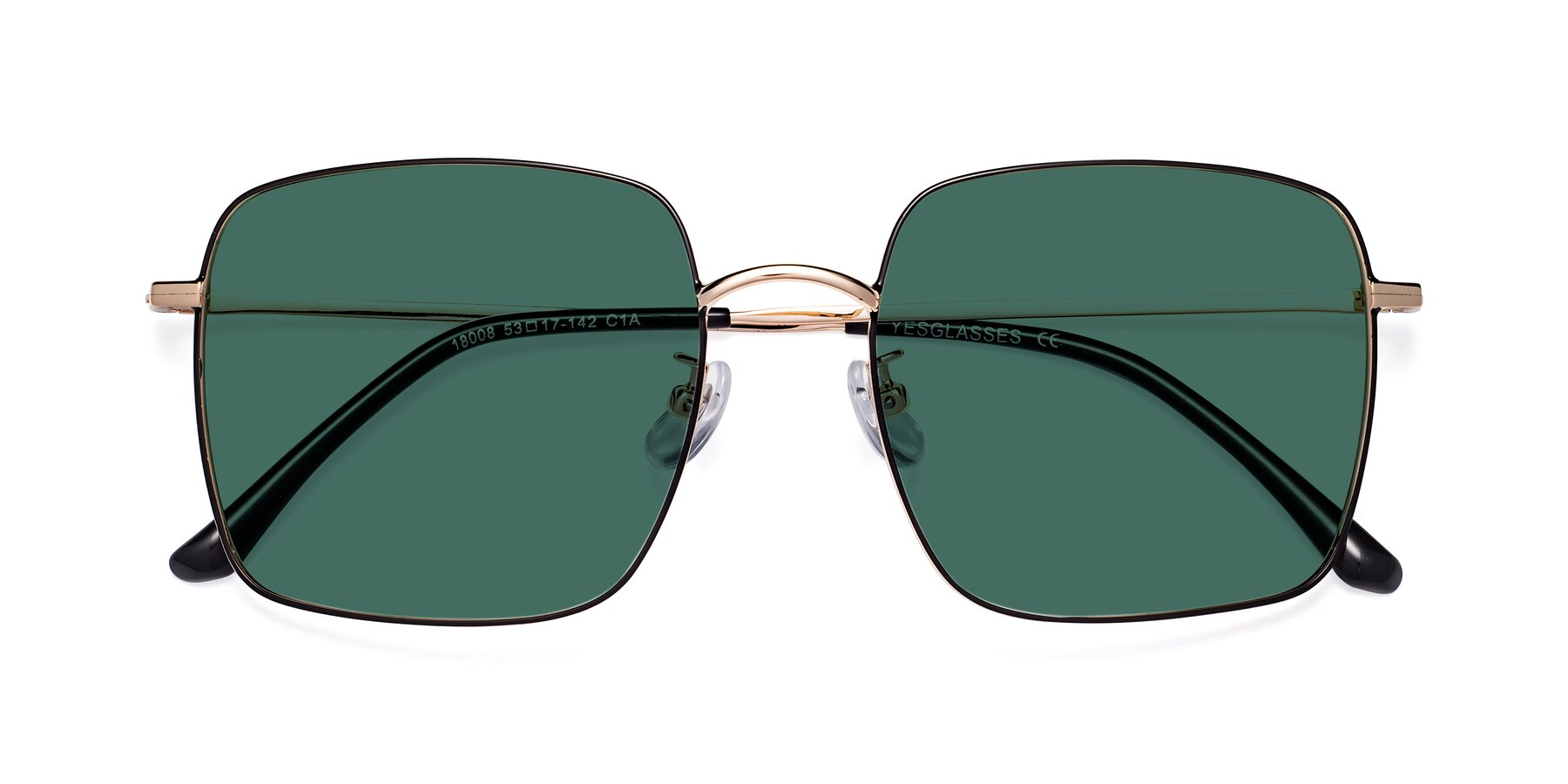 Folded Front of 18008 in Black-Gold with Green Polarized Lenses