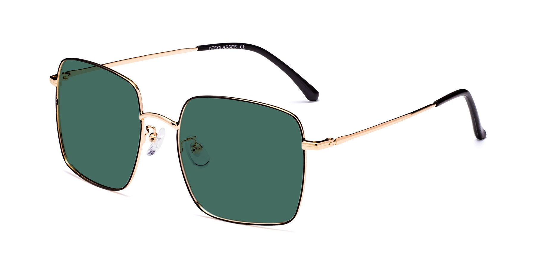 Angle of 18008 in Black-Gold with Green Polarized Lenses