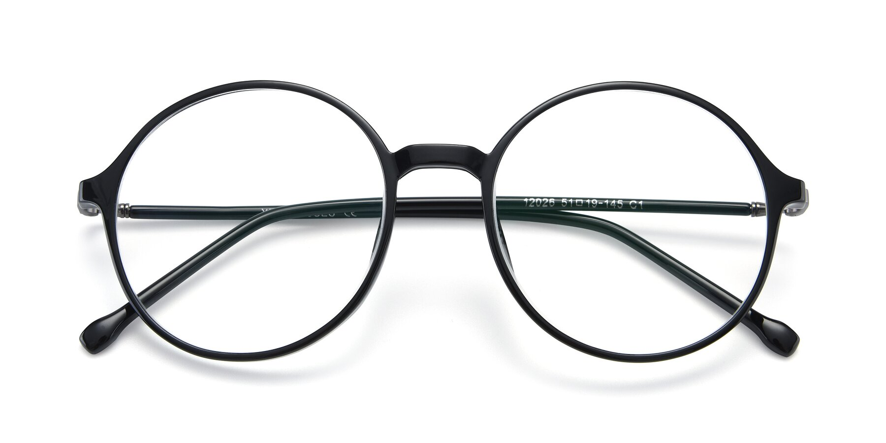 Folded Front of 12026 in Black with Clear Eyeglass Lenses