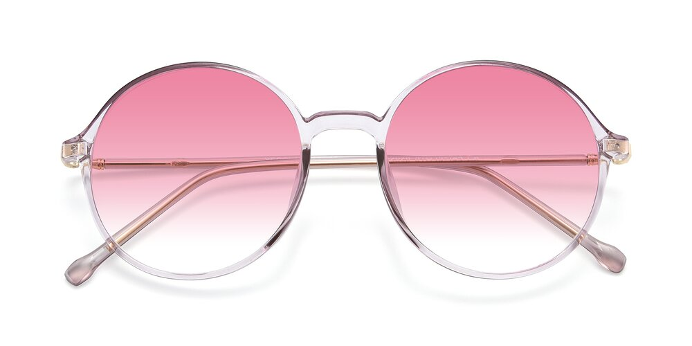 Amber Low Bridge Fit TR90 Round Gradient Sunglasses With Pink Sunwear Lenses