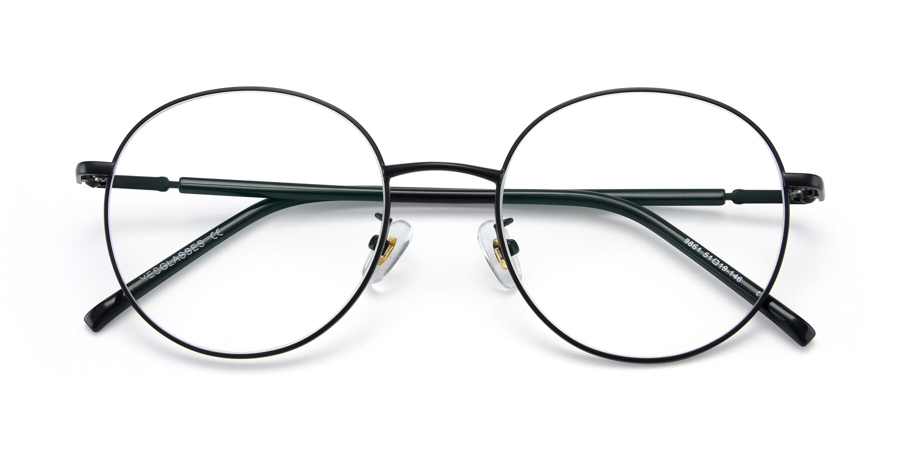 Folded Front of 9861 in Black with Clear Eyeglass Lenses