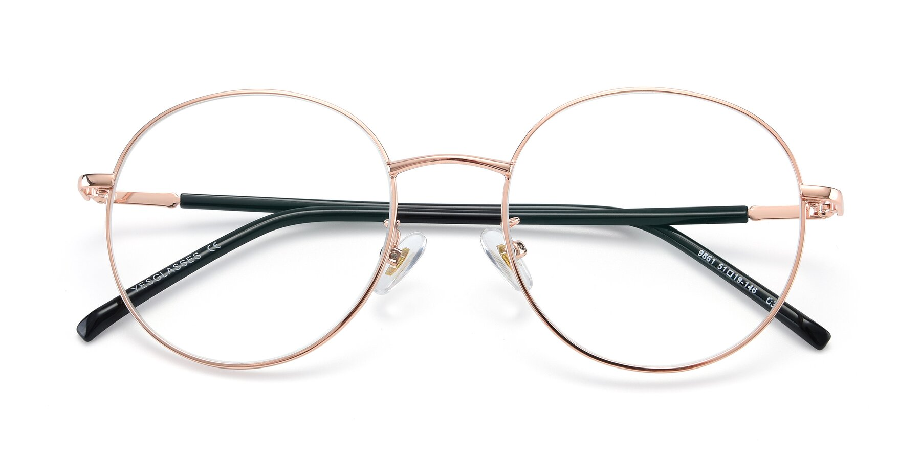 Folded Front of 9861 in Rose Gold with Clear Eyeglass Lenses