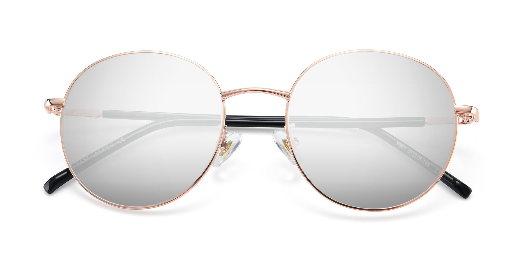 Folded Front of 9861 in Rose Gold with Silver Mirrored Lenses