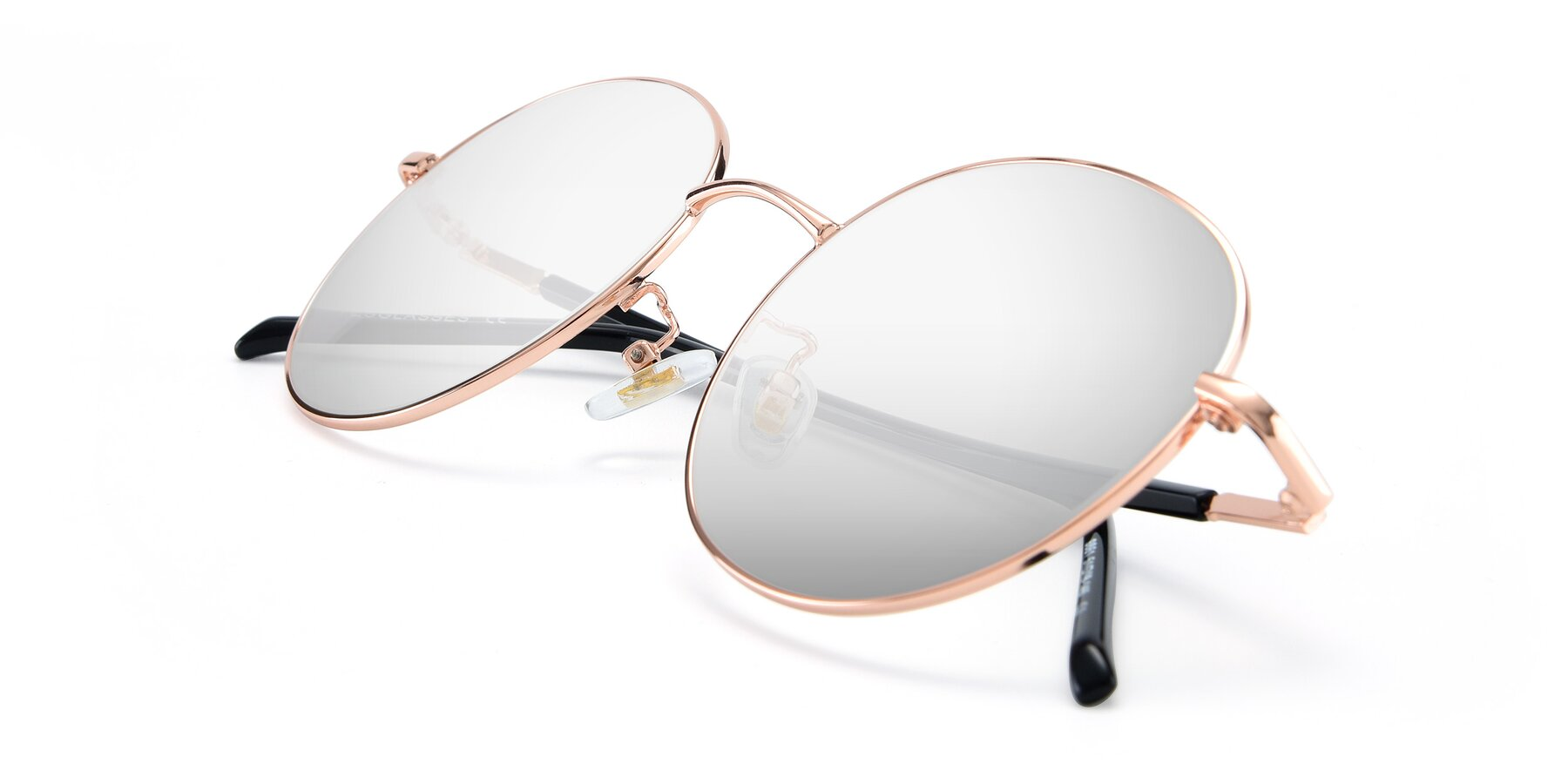 View of 9861 in Rose Gold with Silver Mirrored Lenses