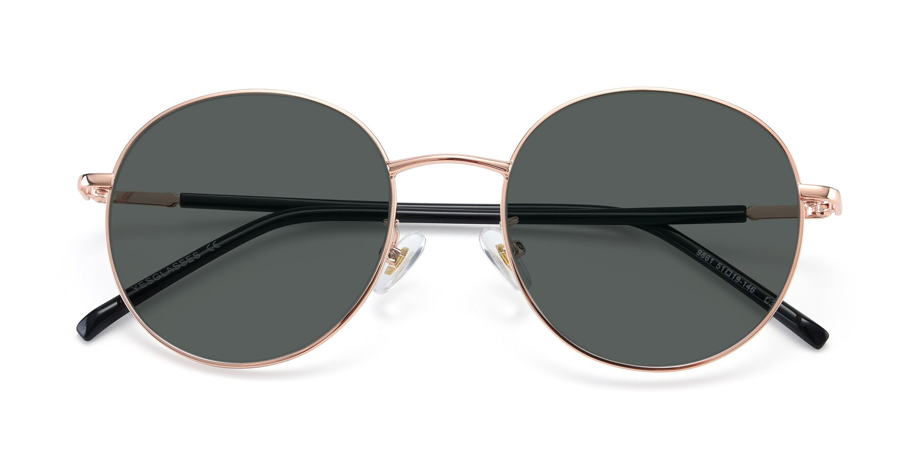 Folded Front of 9861 in Rose Gold with Gray Polarized Lenses