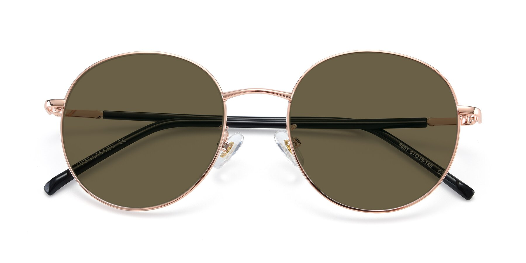 Folded Front of 9861 in Rose Gold with Brown Polarized Lenses