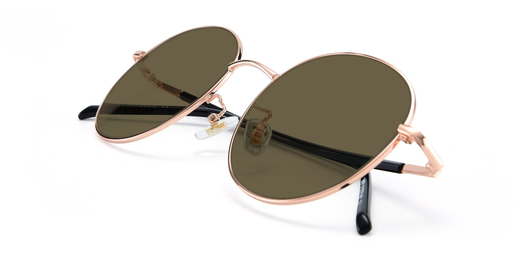 View of 9861 in Rose Gold with Brown Polarized Lenses