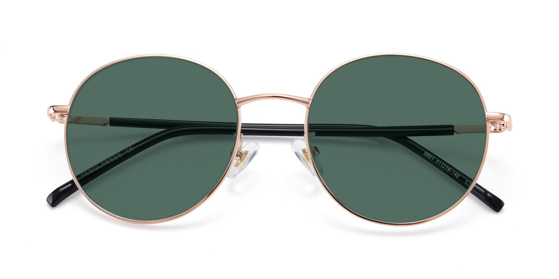 Folded Front of 9861 in Rose Gold with Green Polarized Lenses