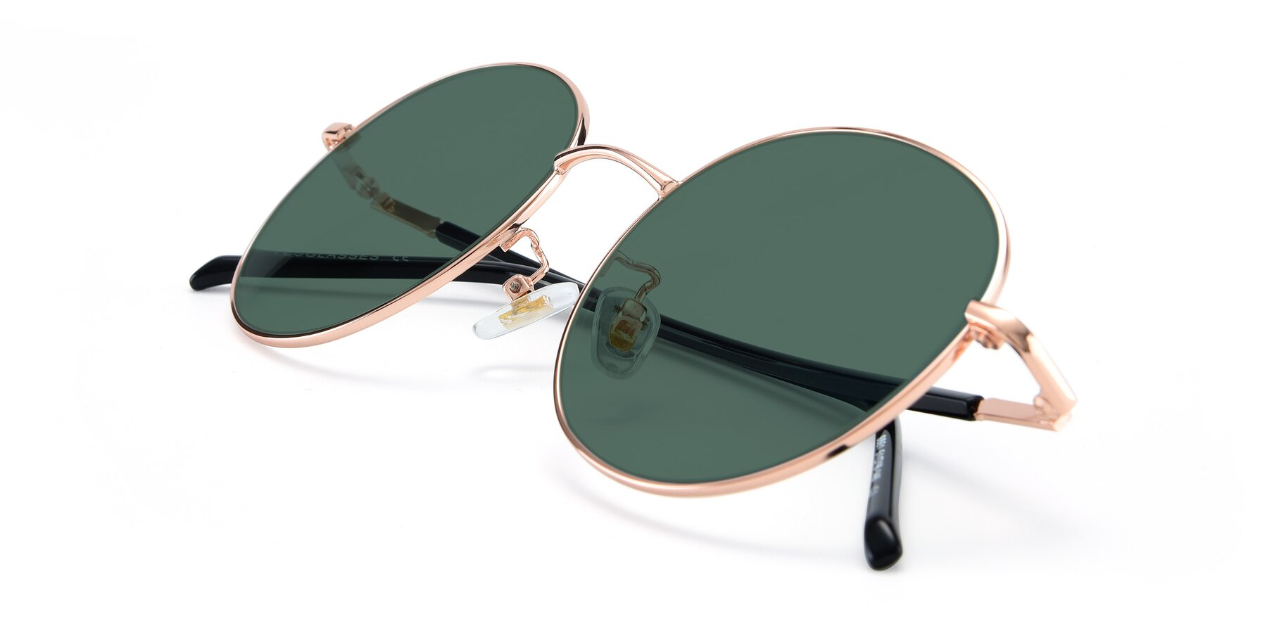 View of 9861 in Rose Gold with Green Polarized Lenses