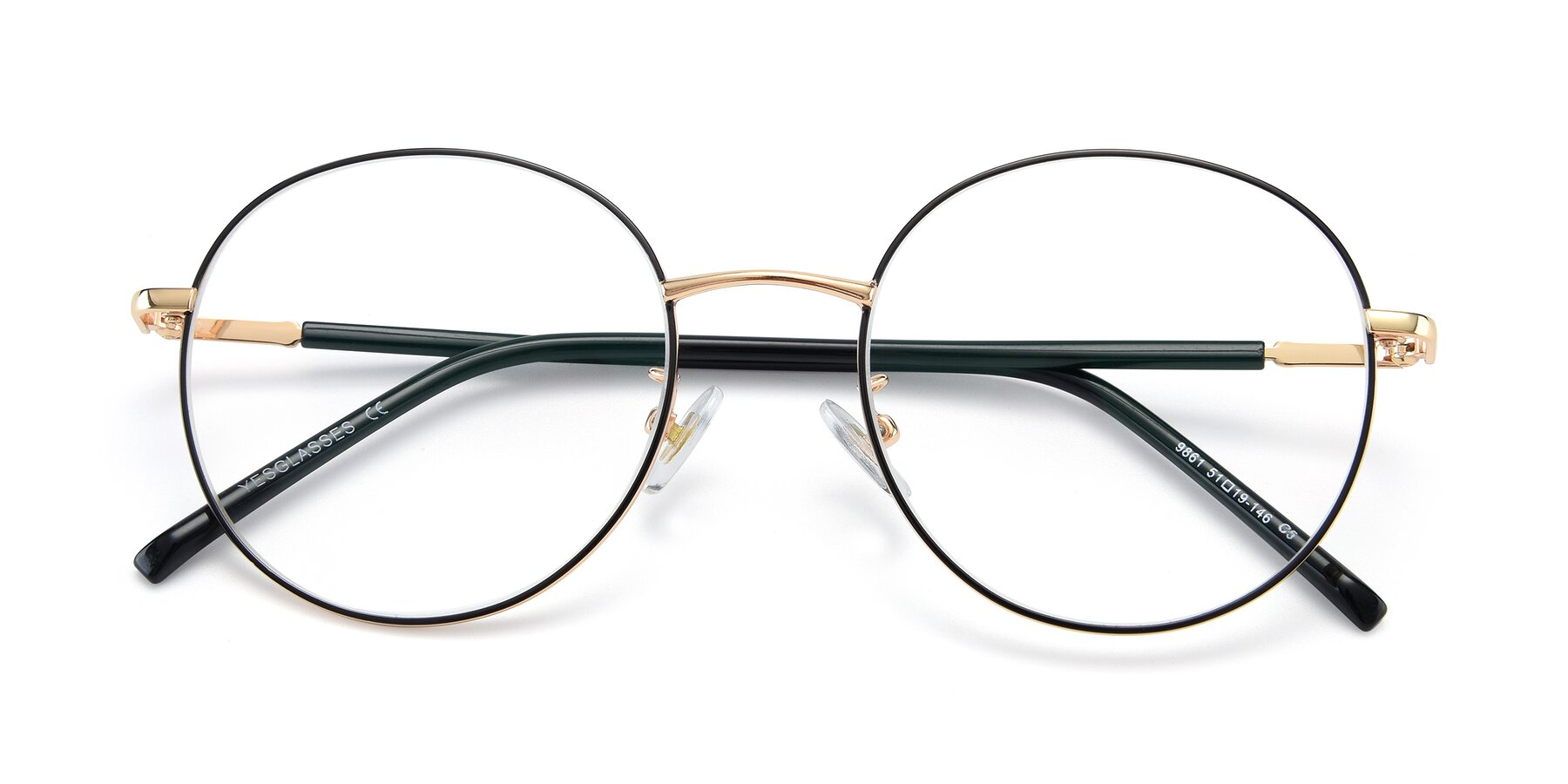 Folded Front of 9861 in Black-Gold with Clear Eyeglass Lenses