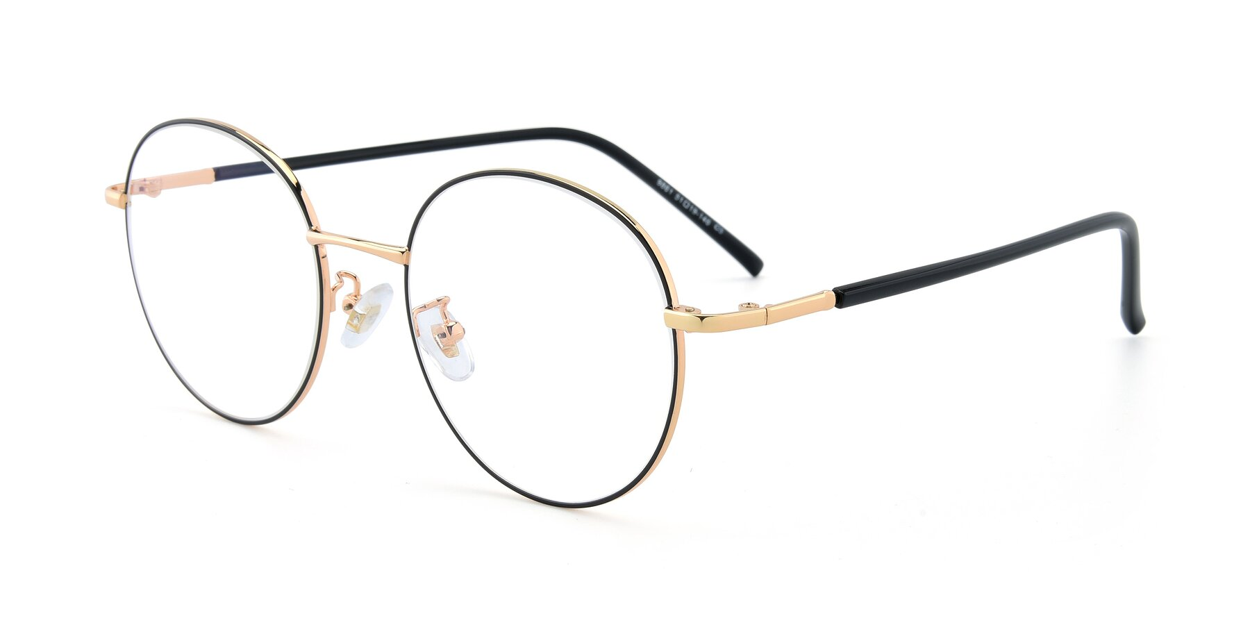 Angle of 9861 in Black-Gold with Clear Eyeglass Lenses