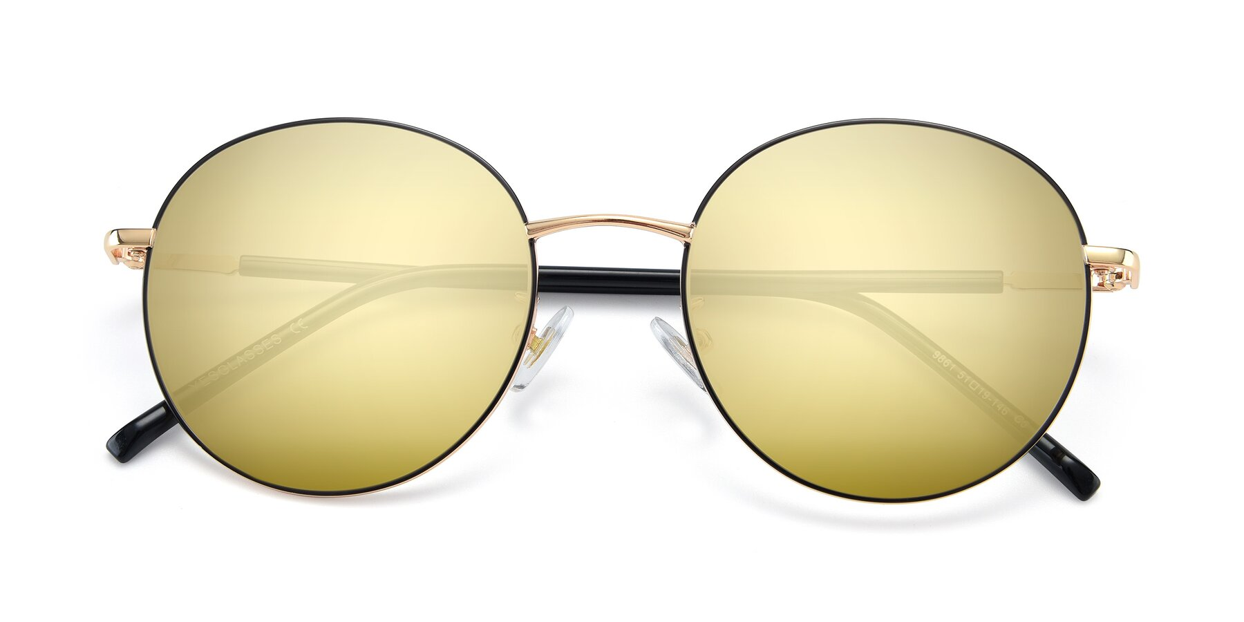 Folded Front of 9861 in Black-Gold with Gold Mirrored Lenses