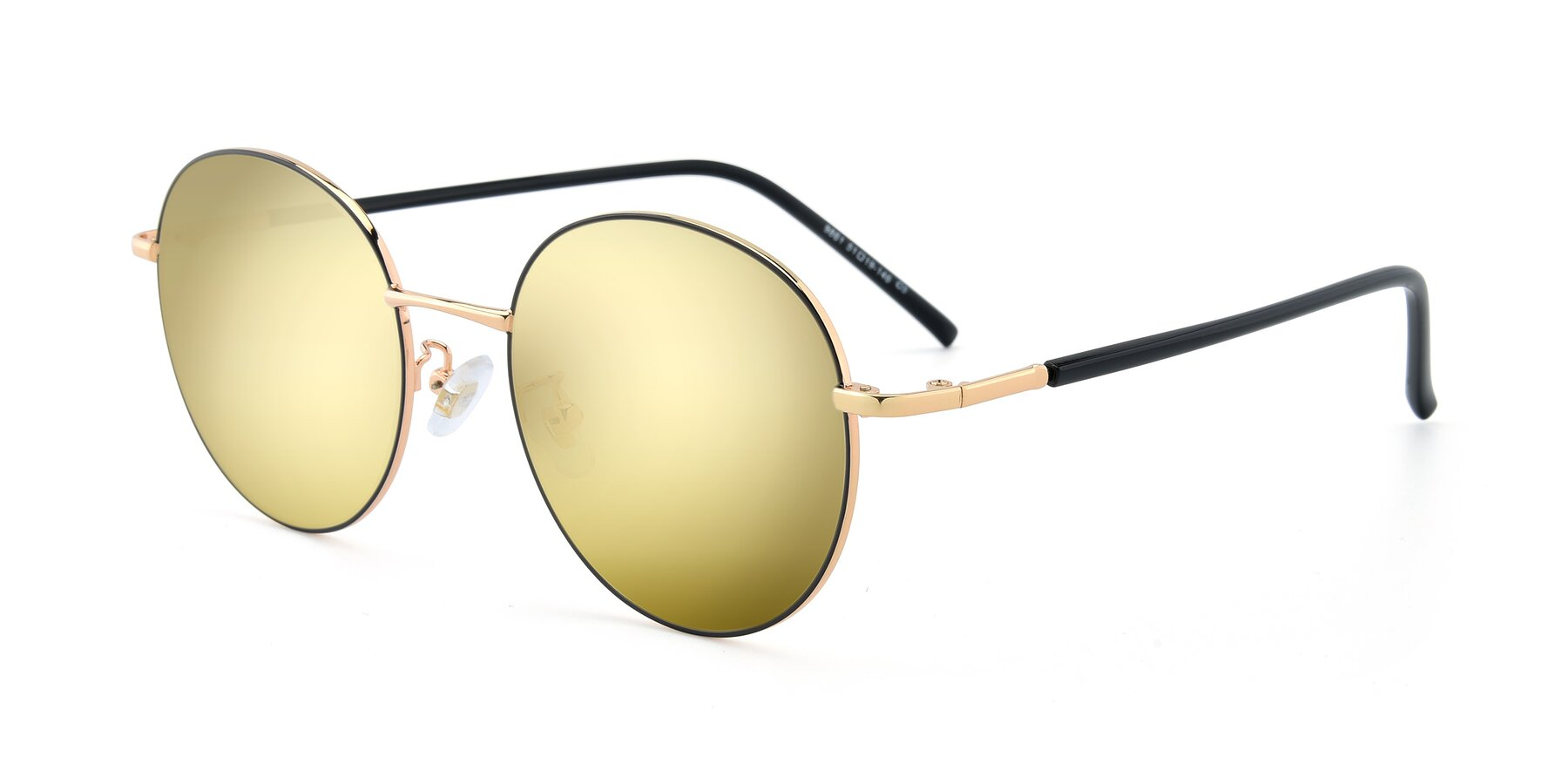 Angle of 9861 in Black-Gold with Gold Mirrored Lenses